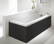 Tongue & Groove Style Matt Black 2 Piece adjustable Bath Panels